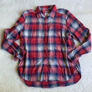 American Eagle Plaid Boyfriend Fit Button Down